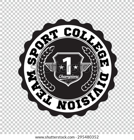 Varsity college university division team sport label typography, t-shirt graphics for apparel - stock vector