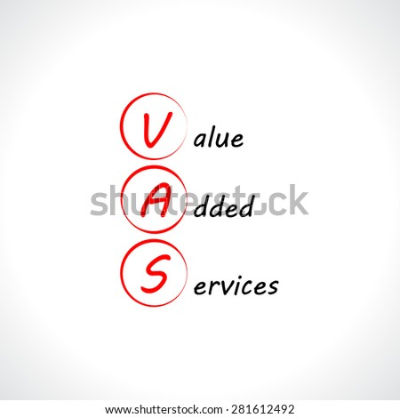 VAS, Value added services - stock vector