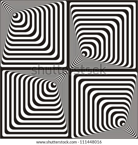 Vasarely effect. Optical Illusion. Black and white vector illustration. - stock vector