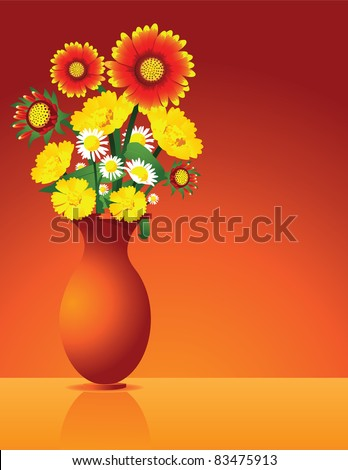 Vase of Flowers A vase of wildflowers on a orange background. Vector illustration. Grouped for easy editing. - stock vector