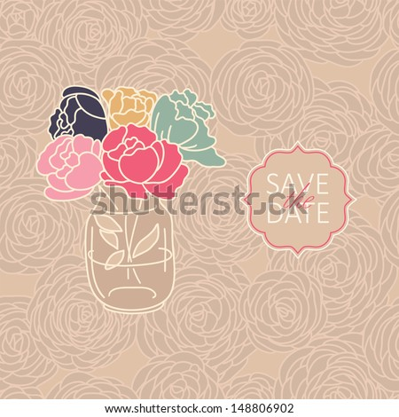 Vase of roses on a seamless floral pattern. Vector illustration for wedding invitation or save the date cards.