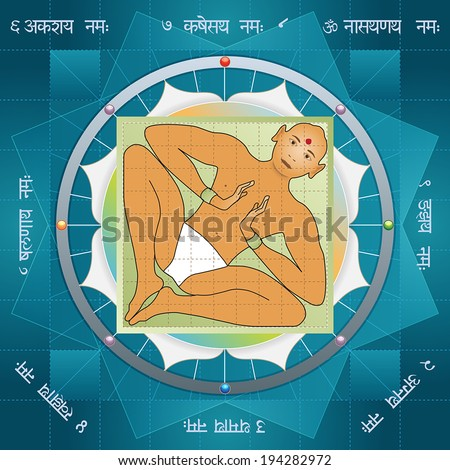 Vastu purusha mandala describes an ancient vedic conception of the Vastu Shastra building, based on the idea that space around us is a celestial alive organism - stock vector
