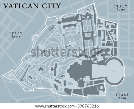 Vatican City Political Map City State Stock Vector - Vatican city rome map