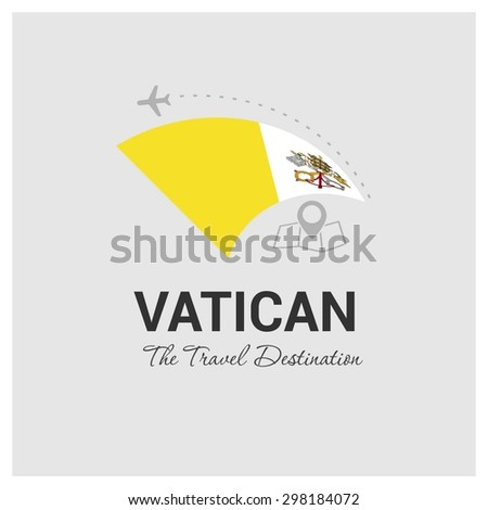 Vatican City The Travel Destination logo - Vector travel company logo design - Country Flag Travel and Tourism concept t shirt graphics - vector illustration - stock vector