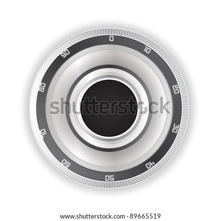 Vault Safe Combination Lock Isolated on White - stock vector