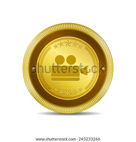 Vdeo Camera Golden Vector Icon Button - stock vector