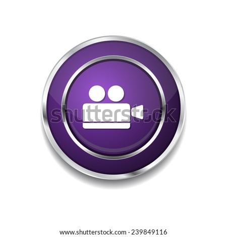 Vdeo Camera Purple Vector Icon Button - stock vector