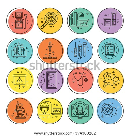 Vecor icons with medical check-up and diagnostic process - xray, MRI, blood testing, microscope and other medical gear. Line vector illustrations of medical diagnostic process. - stock vector