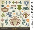 vecor set: heraldry - bits and pieces for your heraldic design projects - stock photo