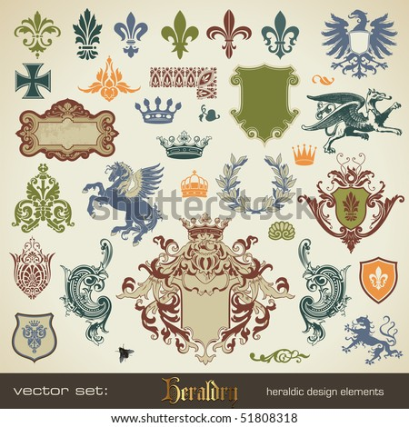 vecor set: heraldry - bits and pieces for your heraldic design projects - stock vector