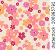 vecotr seamless naive colorful flower print - stock photo