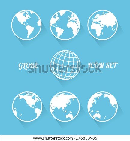 Vecrot globe icon set. Modern flat style - stock vector