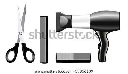 Vecrtor set of combs and scissors, hairstyle accessories. No transparency and effects. - stock vector