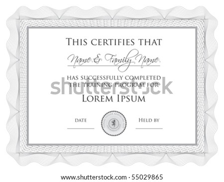 Vecto: Certificate of Completion Template (a jpg version is also available) - stock vector