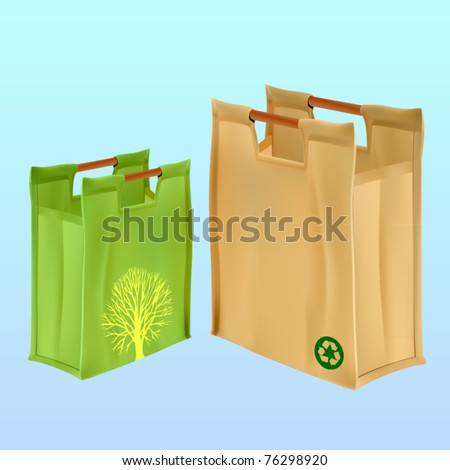 vectoer two jute shopping bags with handles - stock vector