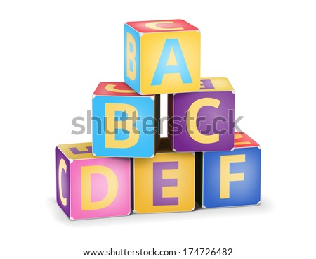 Vector A,B,C letters on pyramid stack alphabet cubes on white - stock vector