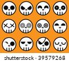 Vector - A collection of cartoon skulls. Each skull is on a separate sublayer and can easily be used or manipulated individually. - stock vector