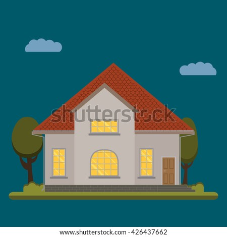 Vector a flat country house with trees.  The flat picture with the image of the house with the garage and trees.suburban  house.country house. country cottage