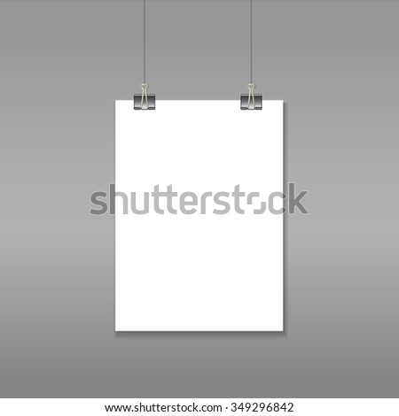 Vector A4 hanging empty paper template mock up with clips. Vector 10EPS illustration file.