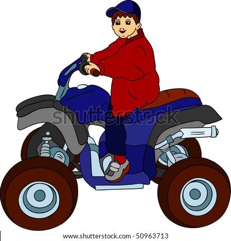 vector - a little boy sitting on quad bike - stock vector