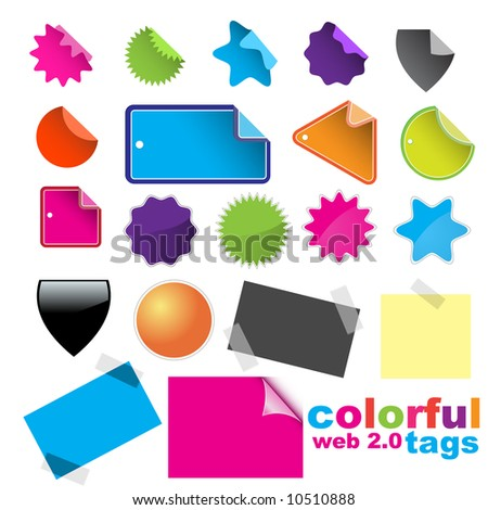 Vector - A lot of glossy and colorful sale tag stickers. - stock vector