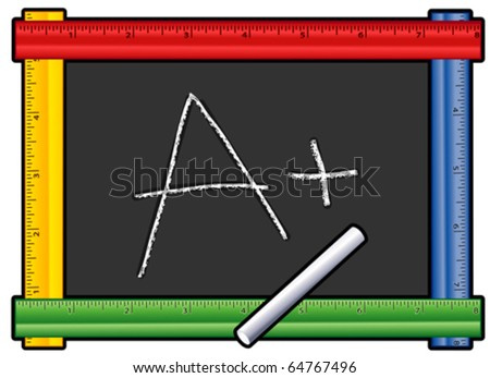 vector - A Plus. Chalk writing on colored ruler frame blackboard in red, blue, yellow & green, for back to school, education, literacy projects. EPS8 organized in groups for easy editing. - stock vector