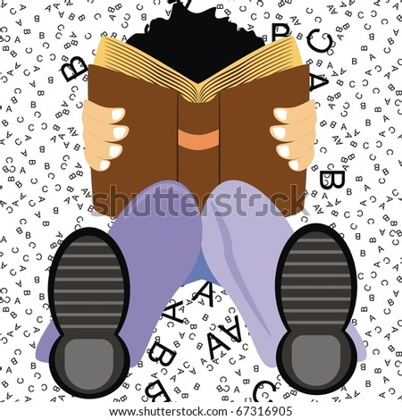 VECTOR - A Student Setting on the Ground Studying English Language Book to get Distinction & High Marks on ABC Background - His Knee is Flexed - He is wearing Shoe - Good Boy (Cartoon Character) - stock vector
