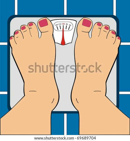VECTOR - A Women Standing on Bathroom Scale - Scale Indicator Shows 100 KG - Her Toe Nails ar Painted By Manicure - Useful For Diet Use, Overwieght, Fitness & GYM - Low Section of Human - stock vector