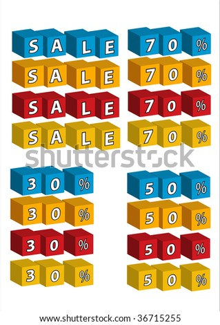 "Vector ABC bricks arranged in ""SALE"",  ""30%"" ""50%"" ""70%"""