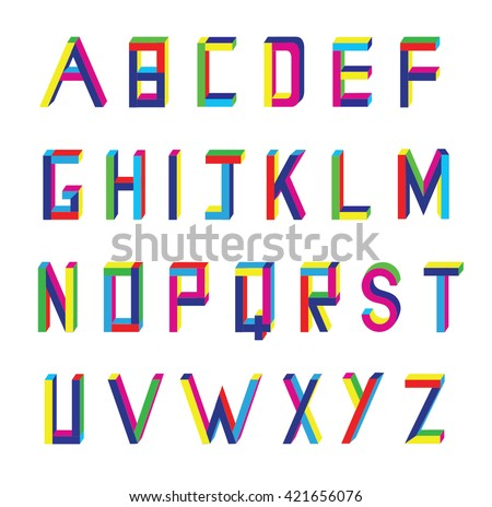 Vector abstract alphabet on white background.3D font. - stock vector
