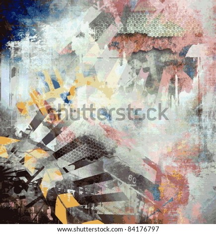 Vector abstract art grunge background - stock vector