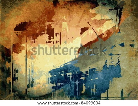 Vector abstract art grunge background, color background - stock vector