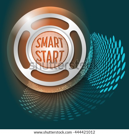 Vector abstract background and silver object with the words smart start - stock vector