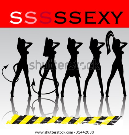 vector - abstract background - beautiful sexy women - stock vector
