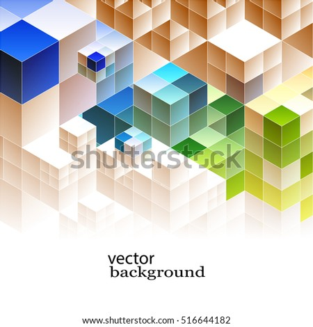 Vector Abstract background Colorful cubes geometric Design template