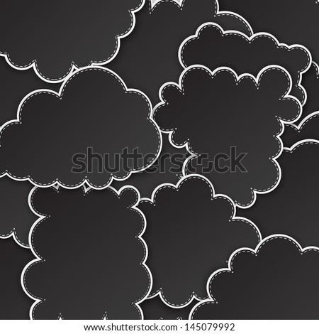 Vector abstract background composed of black paper clouds. Eps10.