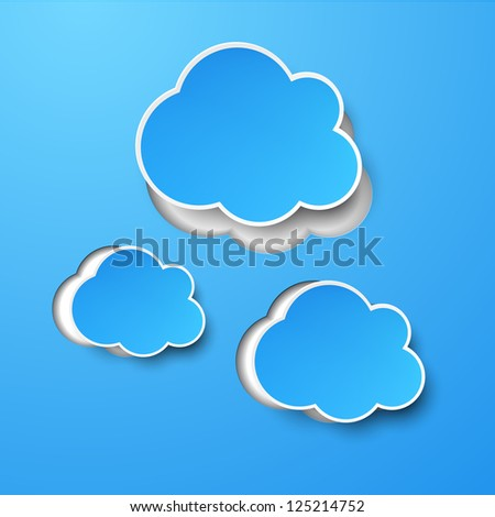 Vector abstract background composed of blue paper clouds over blue. Eps10.