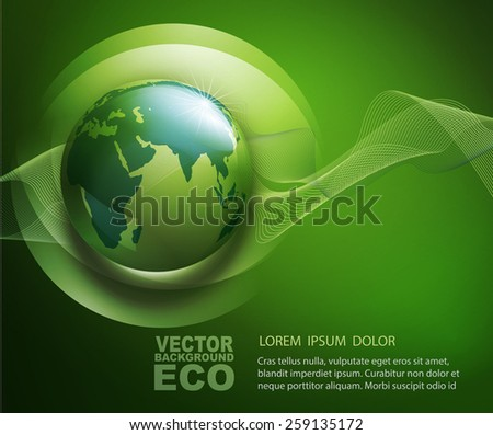 vector abstract background for ecological design with a leaf, a drop and globe  - stock vector