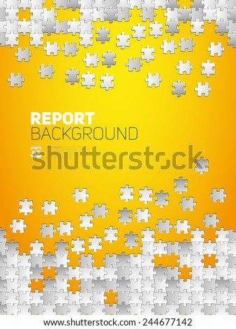 Vector Abstract background for Report, made from puzzle pieces and place for your content - stock vector