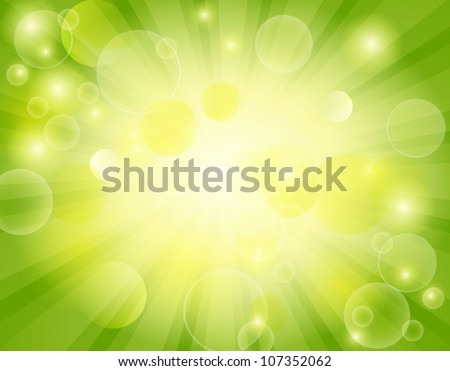 Vector abstract background green and fresh bokeh - stock vector