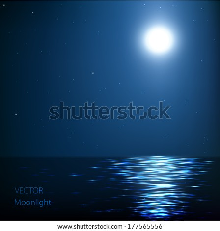 vector abstract background,Moonlight at sea - stock vector