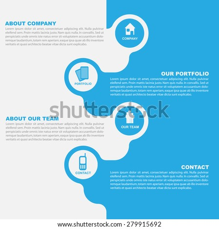 Vector abstract background of brochure with icons for company introducing - stock vector