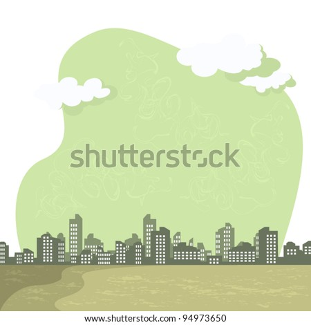 Vector abstract background. The gray tones. Cityscape, smog over the city. Environmental problems.