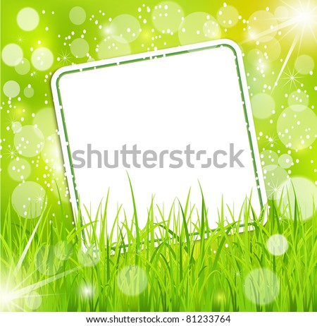 Vector abstract background with a bright greeting card in the grass - stock vector