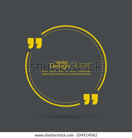 Vector abstract background with a circle and a dotted line .Quotation Mark Speech Bubble. Quote sign icon. - stock vector