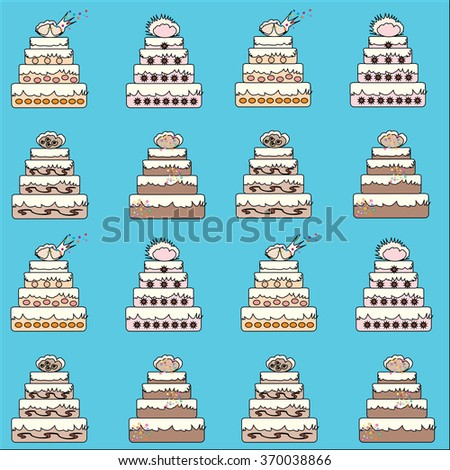 Vector abstract background with a set of birthday cakes. For decoration of posters, banners, wallpaper, wrapping paper.