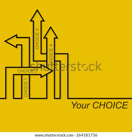 Vector abstract background with direction arrow sign. The concept of a decision making standing on road junction. Movement in an unknown direction. Choice - stock vector