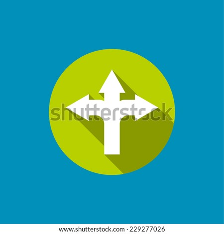 Vector abstract background with direction arrow sign. The concept of decision making standing on road junction. Movement in unknown direction. uncertainty choice. icon with long shadow for mobile app - stock vector