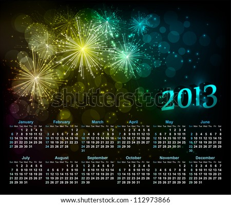 Vector abstract background with fireworks and calendar