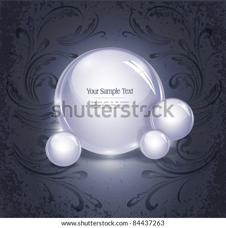 vector abstract background with glowing, glass balls on a vintage, grunge background with a pattern - stock vector